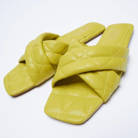 NWT Green Quilted Cross Strap Slides, 9
